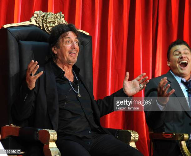 Actors Al Pacino and Steven Bauer on stage at the release of Scarface On Bluray at the Belasco Theatre on August 23 2011 in Los Angeles California