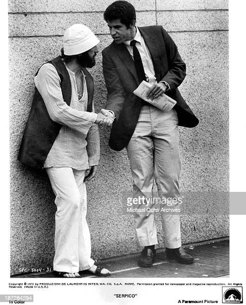 Actors Al Pacino and Tony Roberts on set of the Paramount Pictures movie 'Serpico' in 1973