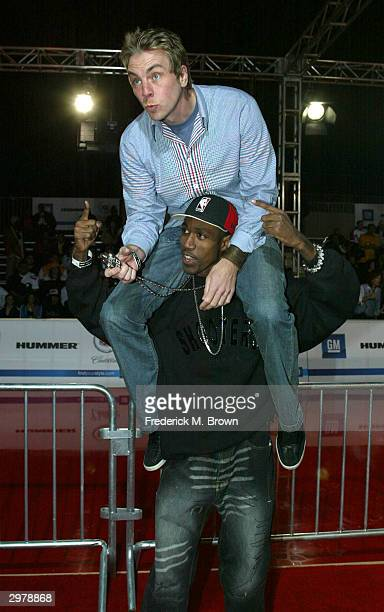 Actors Al Shearer and Dax Shepard attend the General Motors Shaquille O'Neal Rollin 24 Deep GMAll Car Showdown at Raleigh Studios on February 12 2004...