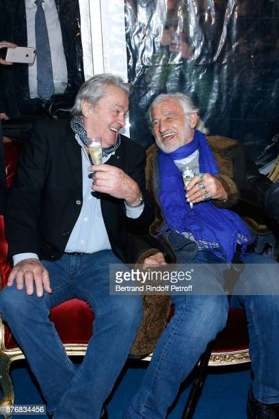 Actors Alain Delon and JeanPaul Belmondo attend La Grande Roue de Paris Opening Ceremony at Place de la Condorde on the Champs Elysees on November 17...