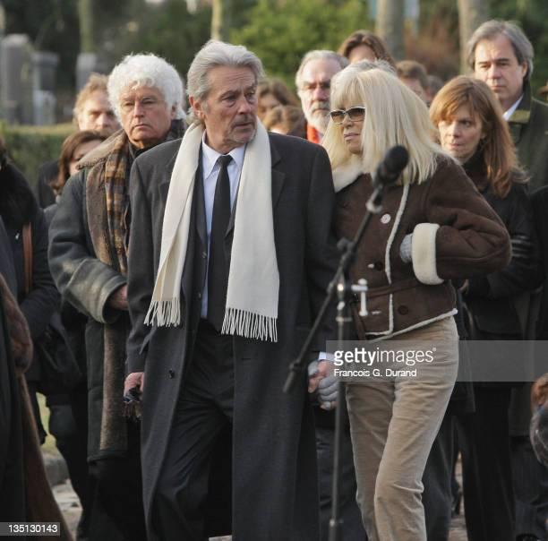 Actors Alain Delon and Mireille Darc attend producerdirector Claude Berri's funeral on January 15 2009 in Paris France