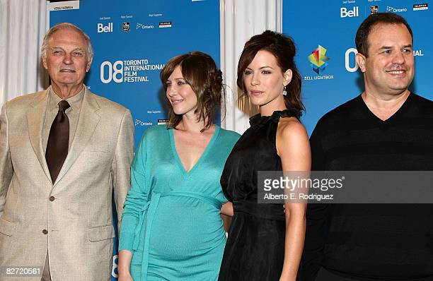 Actors Alan Alda Vera Farmiga Kate Beckinsale and director/writer Rod Lurie arrive at the Nothing But The Truth press conference during the 2008...