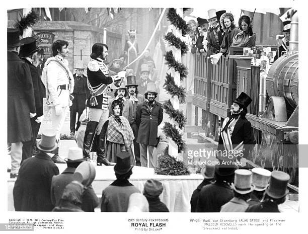 Actors Alan Bates and Malcolm McDowell on set of the 20th CenturyFox movie 'Royal Flash' in 1975