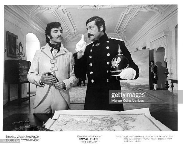 Actors Alan Bates and Oliver Reed on set of the 20th CenturyFox movie Royal Flash in 1975