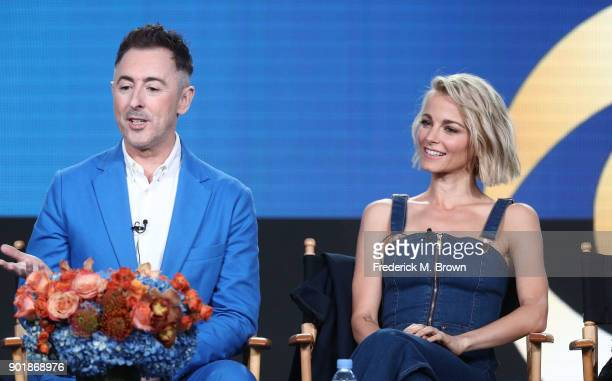 Actors Alan Cumming and Bojana Novakovic of the television show Instinct speak onstage during the CBS/Showtime portion of the 2018 Winter Television...