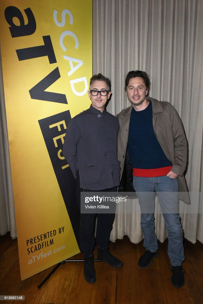 Actors Alan Cumming (L) and Zach Braff attend the SCAD aTVfest 2018 x EW Party at Lure on February 2, 2018 in Atlanta, Georgia.