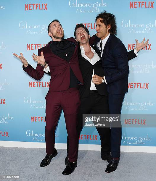 Actors Alan Loayza Nick Holmes and Tanc Sade attend the premiere of 'Gilmore Girls A Year in the Life' at Regency Bruin Theatre on November 18 2016...