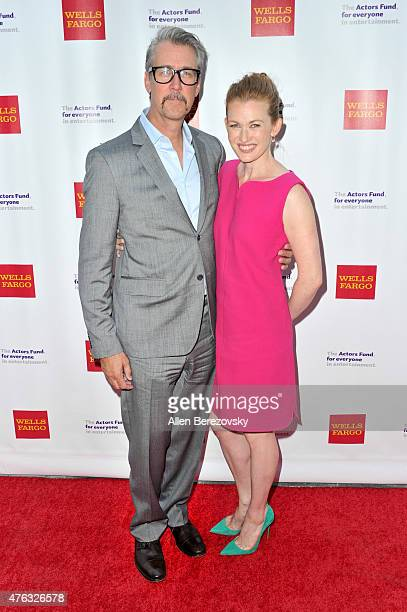 Actors Alan Ruck and Mireille Enos attend The Actors Fund's 19th Annual Tony Awards viewing party at Skirball Cultural Center on June 7 2015 in Los...