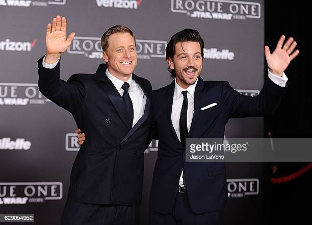Actors Alan Tudyk and Diego Luna attend the premiere of Rogue One A Star Wars Story at the Pantages Theatre on December 10 2016 in Hollywood...