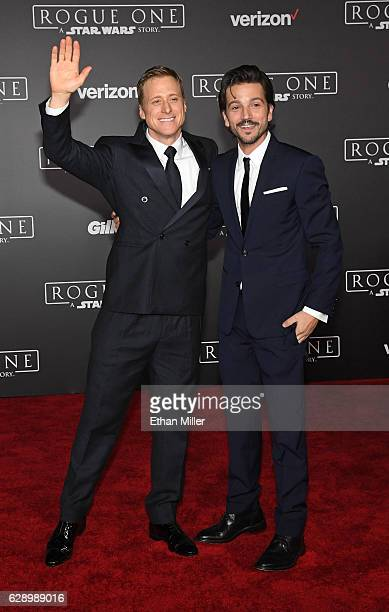 Actors Alan Tudyk and Diego Luna attend the premiere of Walt Disney Pictures and Lucasfilm's Rogue One A Star Wars Story at the Pantages Theatre on...