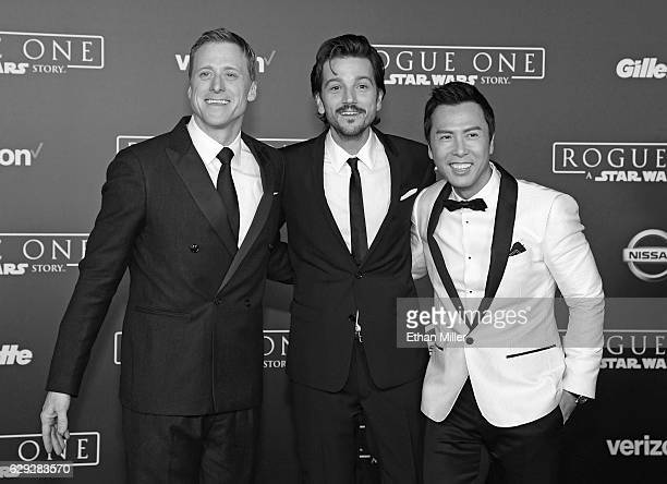 Actors Alan Tudyk Diego Luna and Donnie Yen attend the premiere of Walt Disney Pictures and Lucasfilm's Rogue One A Star Wars Story at the Pantages...