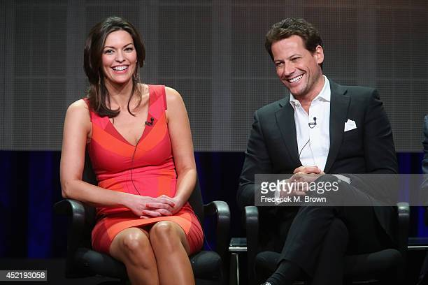 Actors Alana de la Garza and Ioan Gruffudd speak onstage at the 'Forever'' panel during the Disney/ABC Television Group portion of the 2014 Summer...