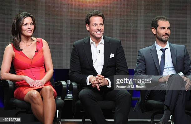 Actors Alana de la Garza Ioan Gruffudd and Executive producer Matt Miller speak onstage at the 'Forever'' panel during the Disney/ABC Television...