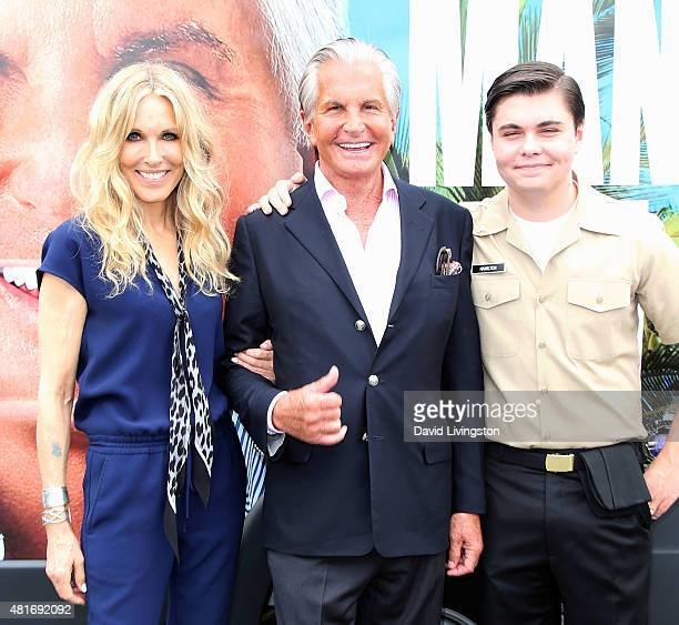 Actors Alana Stewart and George Hamilton and son George Thomas Hamilton attend E's Tan Man's Van photo op at The Grove on July 23 2015 in Los Angeles...