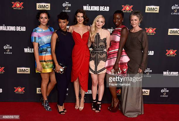 Actors Alanna Masterson Sonequa MartinGreen Lauren Cohan Emily Kinney Danai Gurira and Melissa McBride attend the season 5 premiere of The Walking...