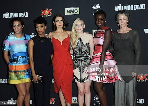 Actors Alanna Masterson Sonequa MartinGreen Lauren Cohan Emily Kinney Danai Gurira and Melissa McBride arrive for AMC Celebrates The Season 5...