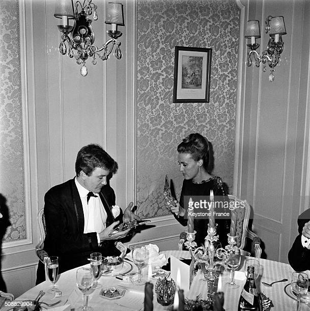 Actors Albert Finney And Jeanne Moreau Awarded With The Etoiles De Cristal Of The Académie Du Cinéma in Paris France on December 18 1962