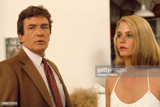 Actors Albert Finney and Susan Dey on the set of Looker by director screenwriter and producer Michael Crichton