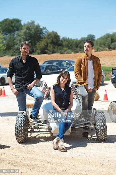 Actors Alberto Ammann Adriana Ugarte and Alex Gonzalez attend the 'Combustion' photocall on April 23 2013 in Belmonte de Tajo near of Madrid Spain