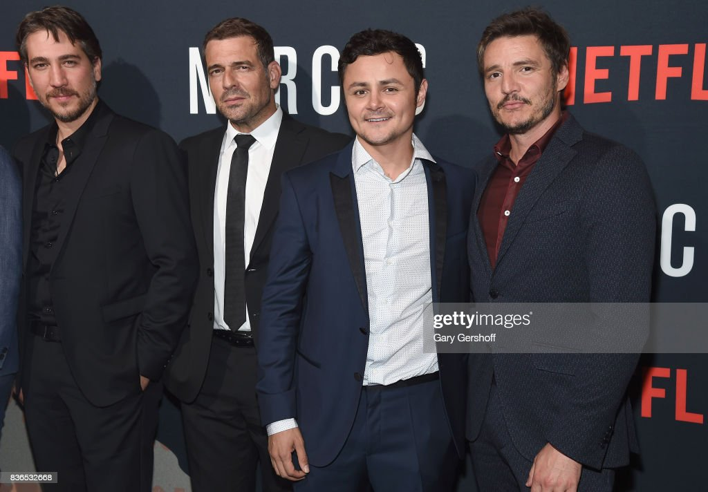 Actors Alberto Ammann, Pepe Rapazote, Arturo Castro and Pedro Pascal attend the 'Narcos' Season 3 New York screening at AMC Loews Lincoln Square 13 theater on August 21, 2017 in New York City.