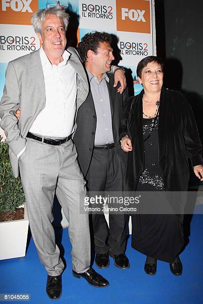 Actors Alberto Di Stasio Ninni Bruschetta and Roberta Fiorentini attend the 'Boris 2' Party Launch Organized By Fox TV on May 09 2008 in Milan Italy