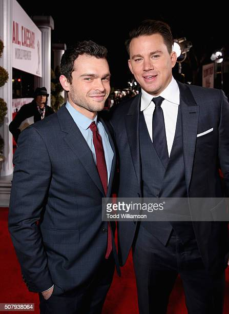 Actors Alden Ehrenreich and Channing Tatum attend Universal Pictures' Hail Caesar premiere at Regency Village Theatre on February 1 2016 in Westwood...