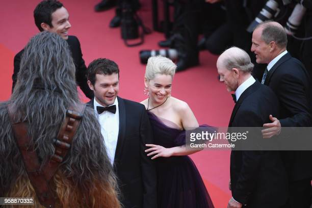 Actors Alden Ehrenreich and Emilia Clarke attend the screening of 'Solo A Star Wars Story' during the 71st annual Cannes Film Festival at Palais des...