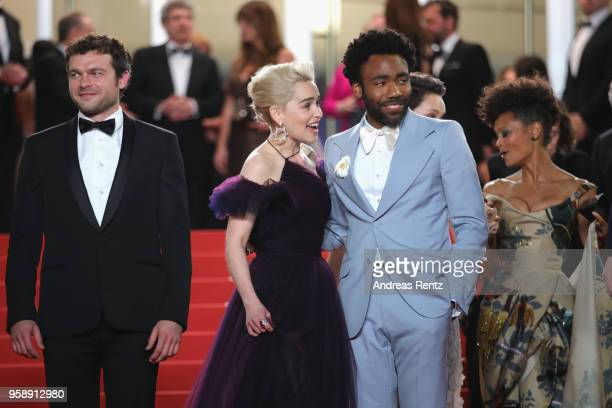 Actors Alden Ehrenreich Emilia Clarke Donald Glover and Thandie Newton depart the screening of 'Solo A Star Wars Story' during the 71st annual Cannes...