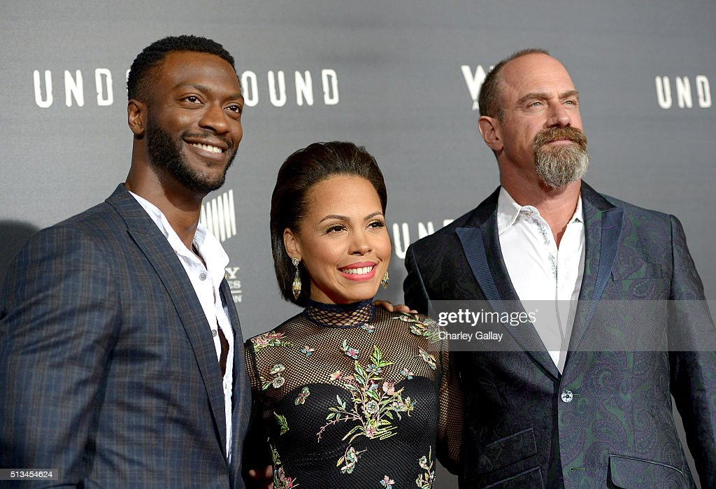 Actors Aldis Hodge, Amirah Vann and Christopher Meloni attend WGN America's 'Underground' World Premiere on March 2, 2016 in Los Angeles, California.