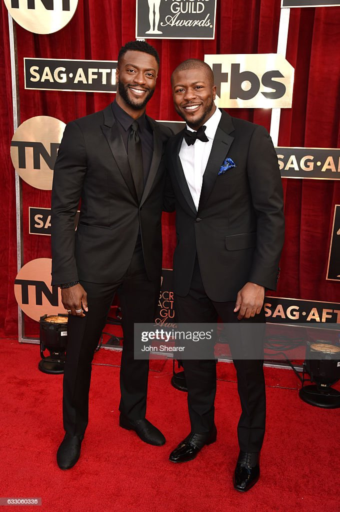 Actors Aldis Hodge (L) and Edwin Hodge attend The 23rd Annual Screen Actors Guild Awards at The Shrine Auditorium on January 29, 2017 in Los Angeles, California.