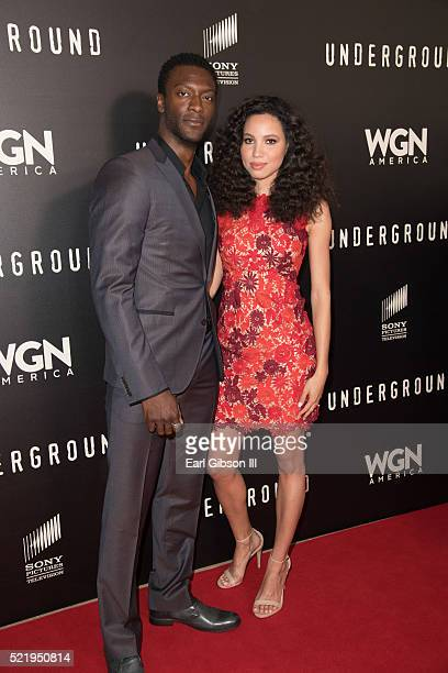 Actors Aldis Hodge and Jurnee SmollettBell pose for a photo at the WGN America Presents 'Underground' For Your Consideration Emmy Event at The...