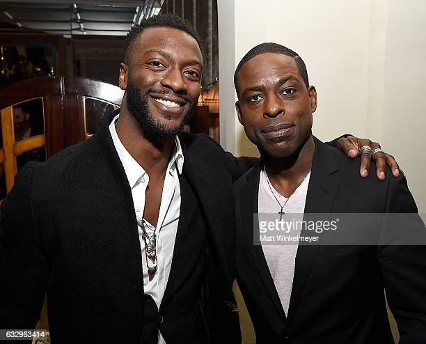 Actors Aldis Hodge and Sterling K Brown attend the Entertainment Weekly Celebration of SAG Award Nominees sponsored by Maybelline New York at Chateau...