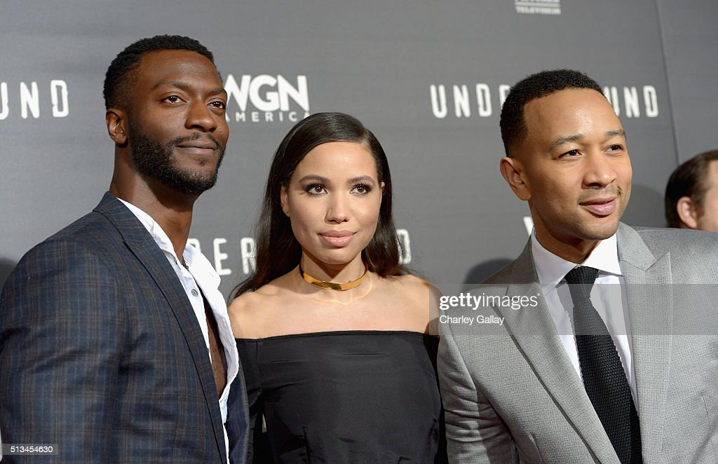 Actors Aldis Hodge, Jurnee Smollett-Bell and Executive producer John Legend attend WGN America's 'Underground' World Premiere on March 2, 2016 in Los Angeles, California.
