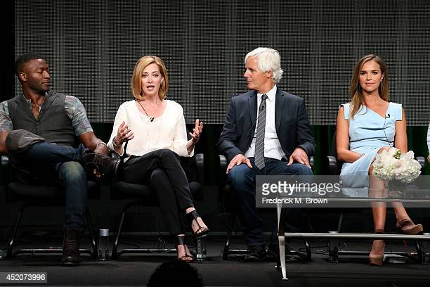 Actors Aldis Hodge Sharon Lawrence creator/executive producer Chris Carter and actress Arielle Kebbel speak onstage at the 'The After' panel during...
