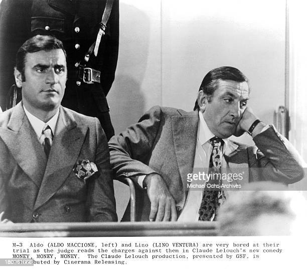 Actors Aldo Maccione and Lino Ventura on set of Cinerama Releasing movie ' Money Money Money'