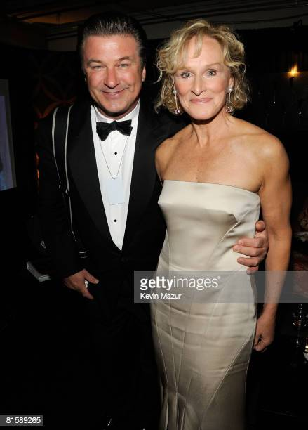 Actors Alec Baldwin and Glenn Close pose backstage during the 62nd Annual Tony Awards at Radio City Music Hall on June 15 2008 in New York City