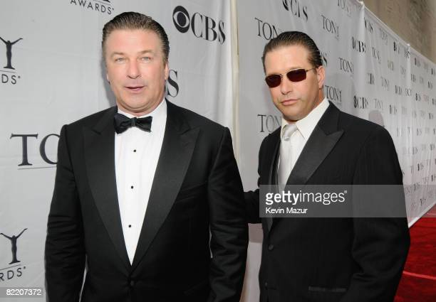 Actors Alec Baldwin and Stephen Baldwin attend the 62nd Annual Tony Awards at Radio City Music Hall on June 15 2008 in New York City