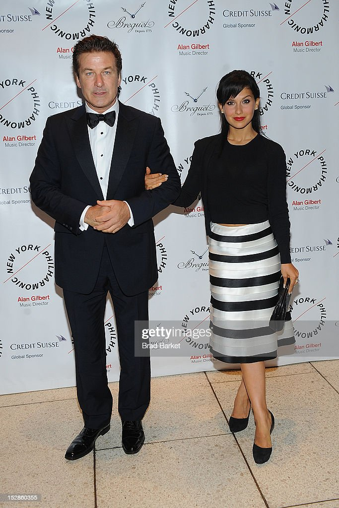 Actors Alec Baldwin and wife Hilaria Lynn Thomas attend the New York Philharmonic 2012-2013 Opening Gala at Avery Fisher Hall at Lincoln Center for the Performing Arts on September 27, 2012 in New York City.