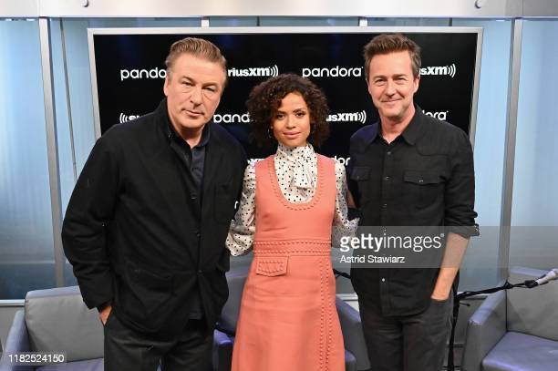 Actors Alec Baldwin Gugu MbathaRaw and Edward Norton attend SiriusXM's Town Hall with the cast of Motherless Brooklyn on October 21 2019 in New York...