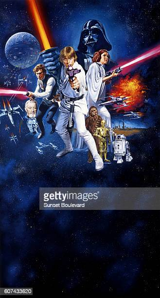 Actors Alec Guinness Harrison Ford Mark Hamill Carrie Fisher Peter Mayhew Anthony Daniels and Kenny Baker on the movie poster of Star Wars written...