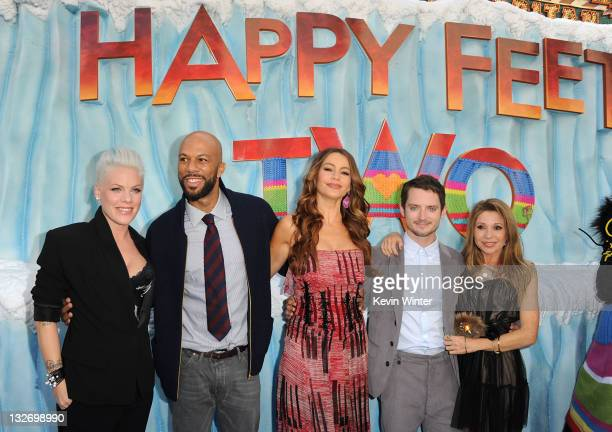 Actors Alecia Beth Moore Common Sofia Vergara Elijah Wood and EG Daily attend the Premiere of Warner Bros Pictures' Happy Feet Two at Grauman's...