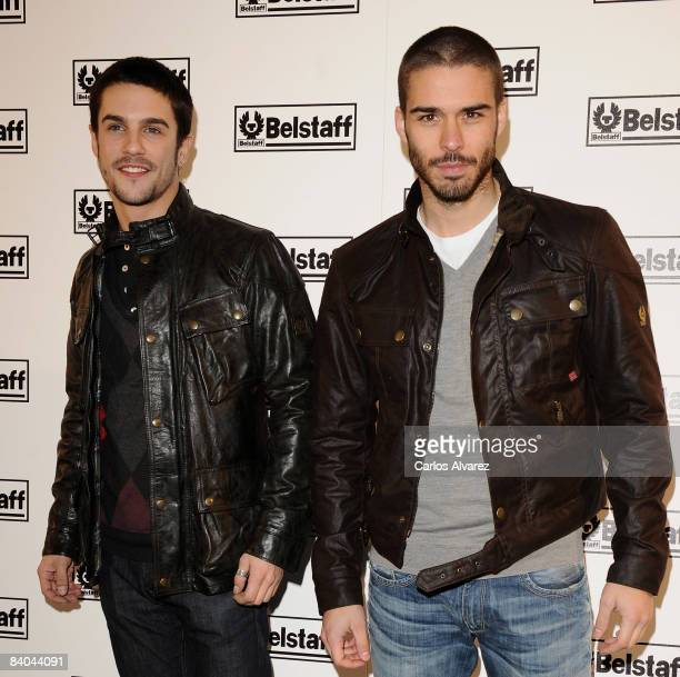 Actors Alejo Sauras and Alex Barahona attend Belstaff Store opening on December 15 2008 in Madrid Spain