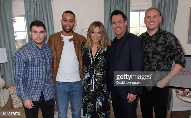Actors Alek Skarlatos Anthony Sadler and Spencer Stone pose with hosts Debbie Matenopoulos and Mark Steines at Hallmark's Home Family at Universal...