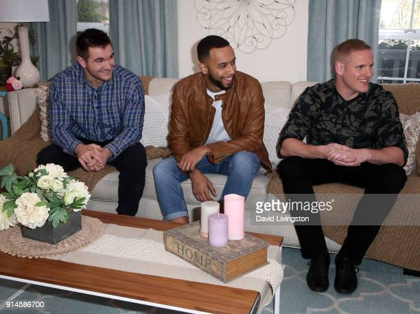 Actors Alek Skarlatos Anthony Sadler and Spencer Stone visit Hallmark's Home Family at Universal Studios Hollywood on February 5 2018 in Universal...