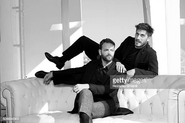 Actors Alessandro Borghi and Luca Marinelli are photographed for Self Assignment on November 11 2015 in Los Angeles United States