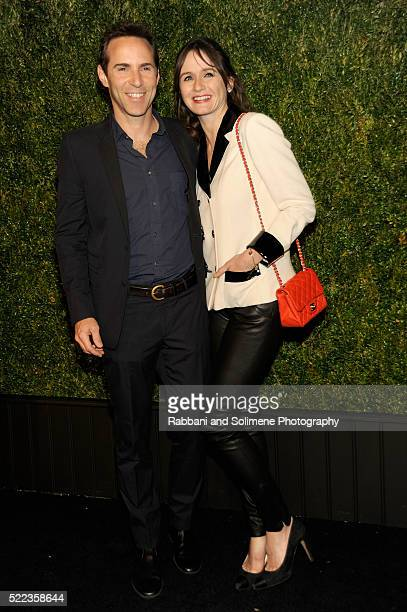 Actors Alessandro Nivola and Emily Mortimer attend 11th Annual Chanel Tribeca Film Festival Artists Dinner at Balthazar on April 18 2016 in New York...