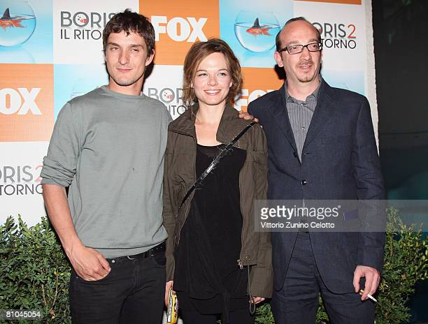 Actors Alessandro Tiberi Eugenia Costantini and Carlo De Ruggeri attend the 'Boris 2' Party Launch Organized By Fox TV on May 09 2008 in Milan Italy