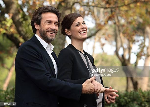 Actors Alessio Boni and Vanessa Incontrada attend 'I Cerchi Nell'Acqua' TV series Mediaset photocall at Casa del Cinema on December 13 2011 in Rome...