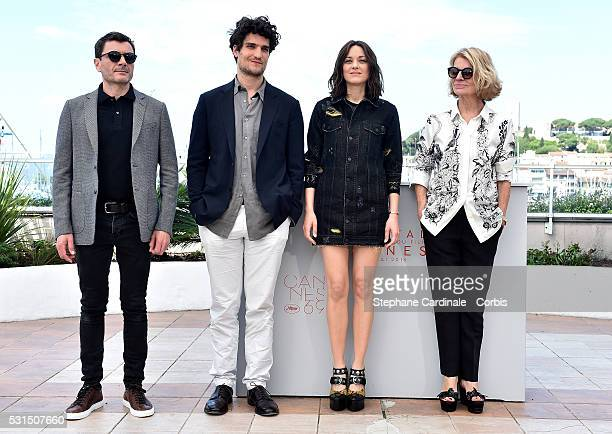 """Actors Alex Brendemuehl, Louis Garrel, Marion Cotillard and director Nicole Garcia attend the """"From The Land Of The Moon """" photocall during the 69th..."""