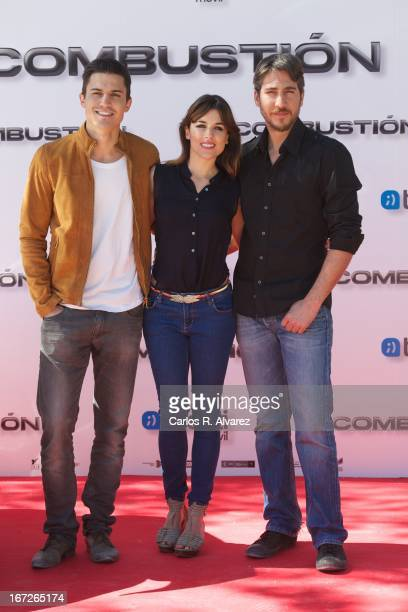 Actors Alex Gonzalez Adriana Ugarte and Alberto Ammann attend the 'Combustion' photocall on April 23 2013 in Belmonte de Tajo near of Madrid Spain